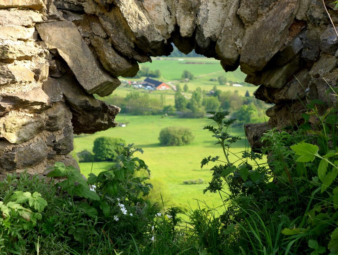 Вид из окна старого замка в Чехии
