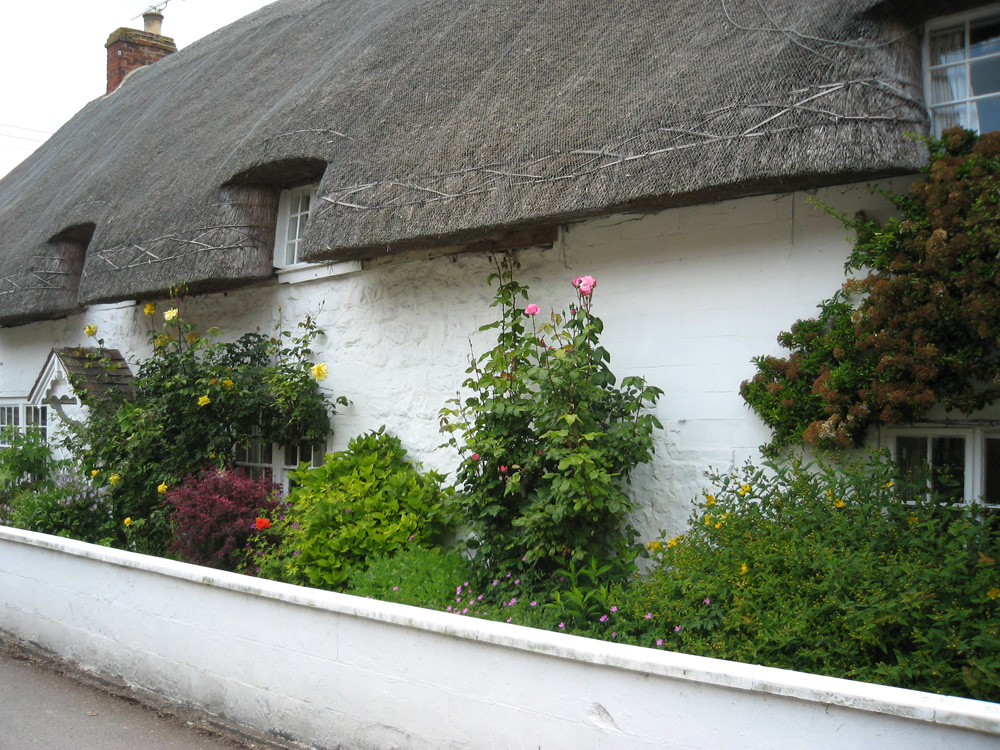 Старые английские домики с соломенной крышей, в металлической сетке (Англия).