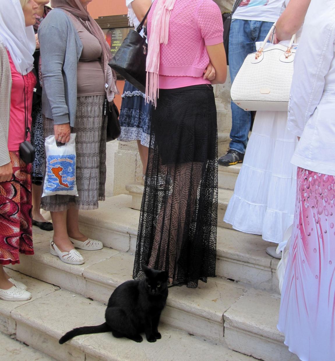 Чёрный кот сопровождает даму в чёрной юбке. (Греция)