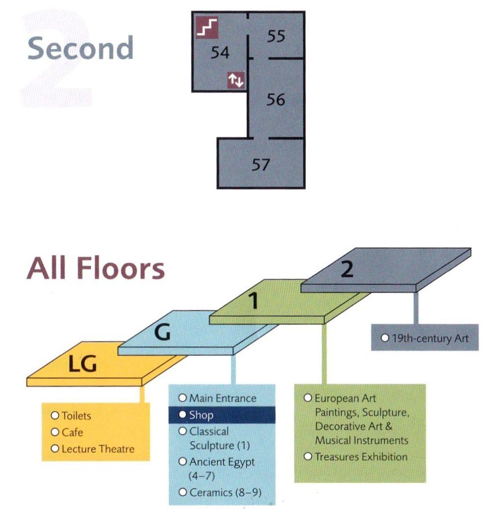 Схема 2 этажа музея Эшмола