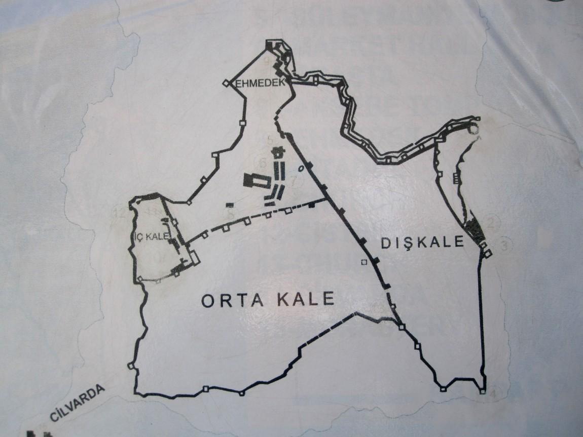 Схема сельджукской крепости Кале (Kale) в Аланьи (Турция)