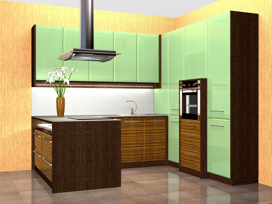 Зебрано-Зелёная кухня