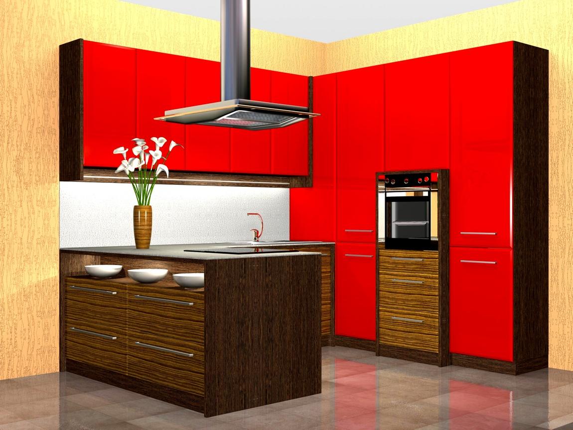 Зебрано-красная кухня