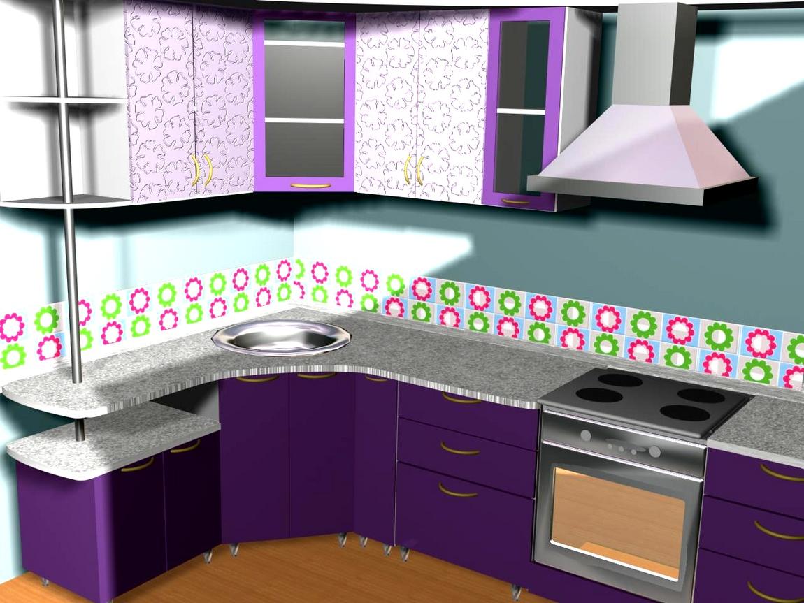 Кухня сиреневая, розовая