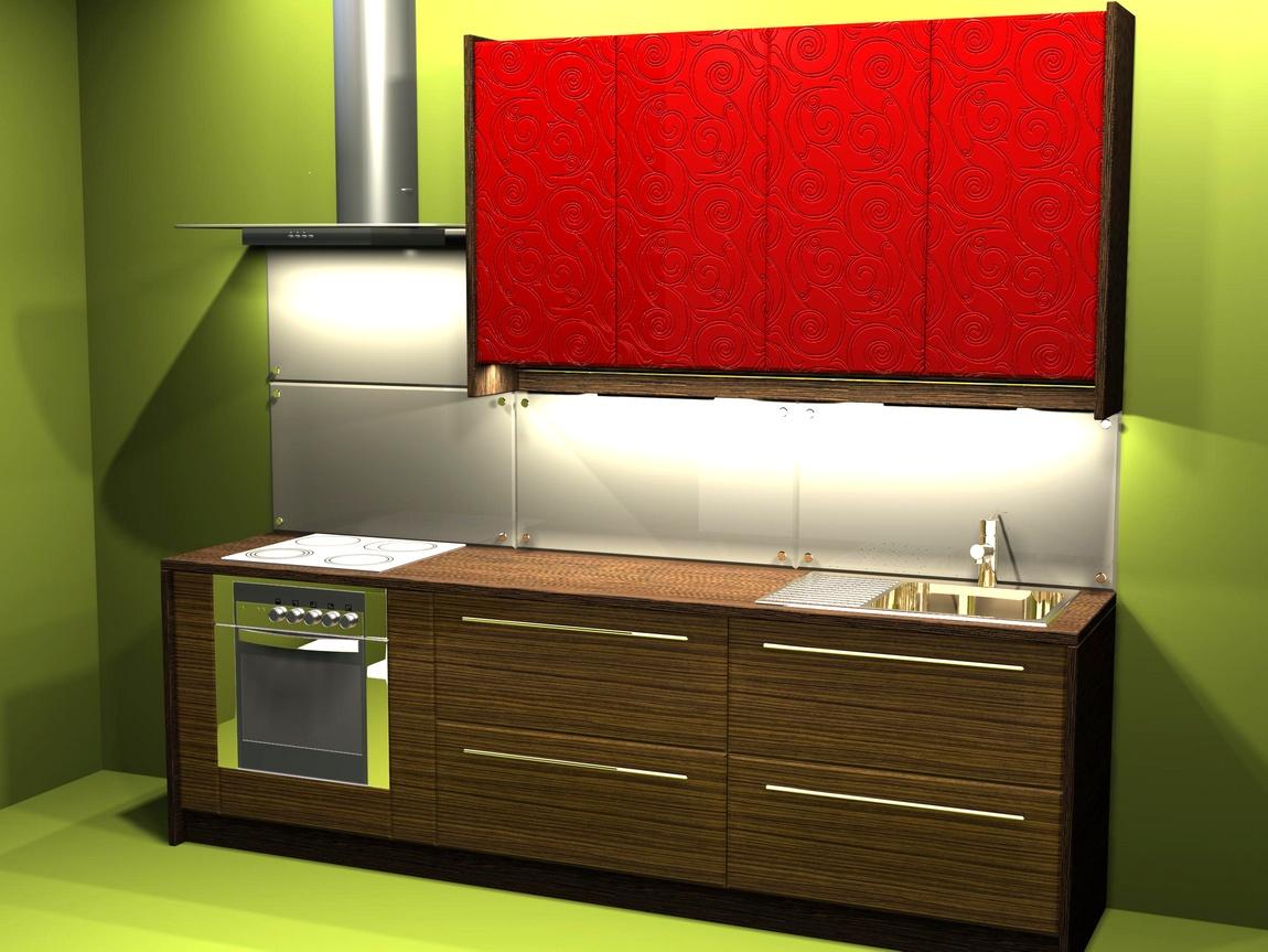 Кухня красная и зебрано