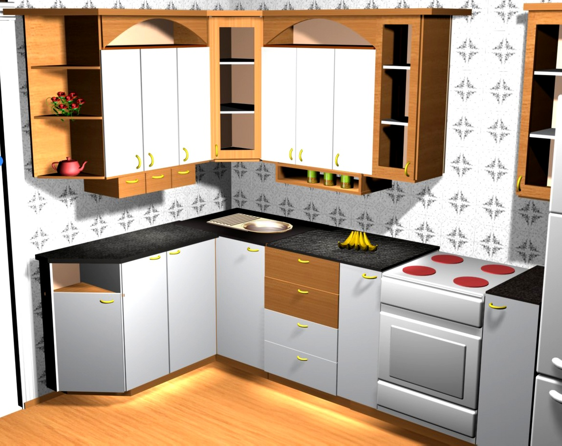 Кухня белая со вставками бука