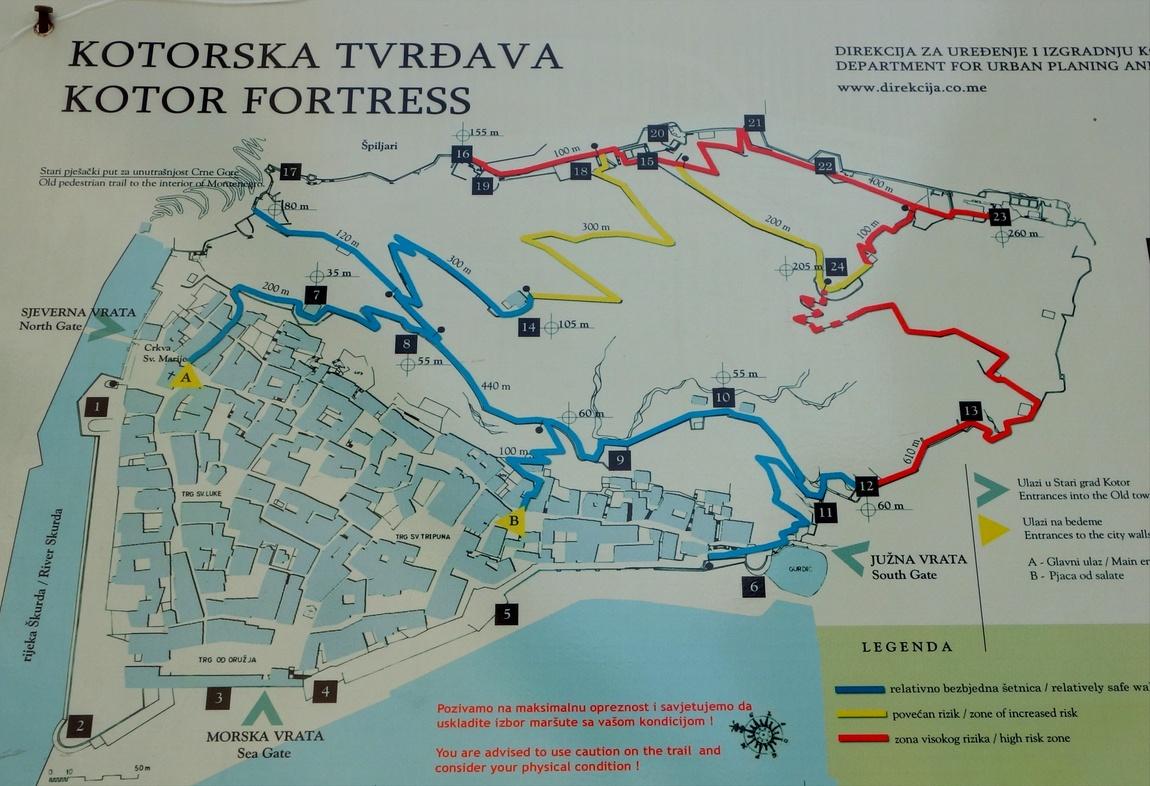 Схема дороги к крепости Св.Иоанна в Которе (Черногория)