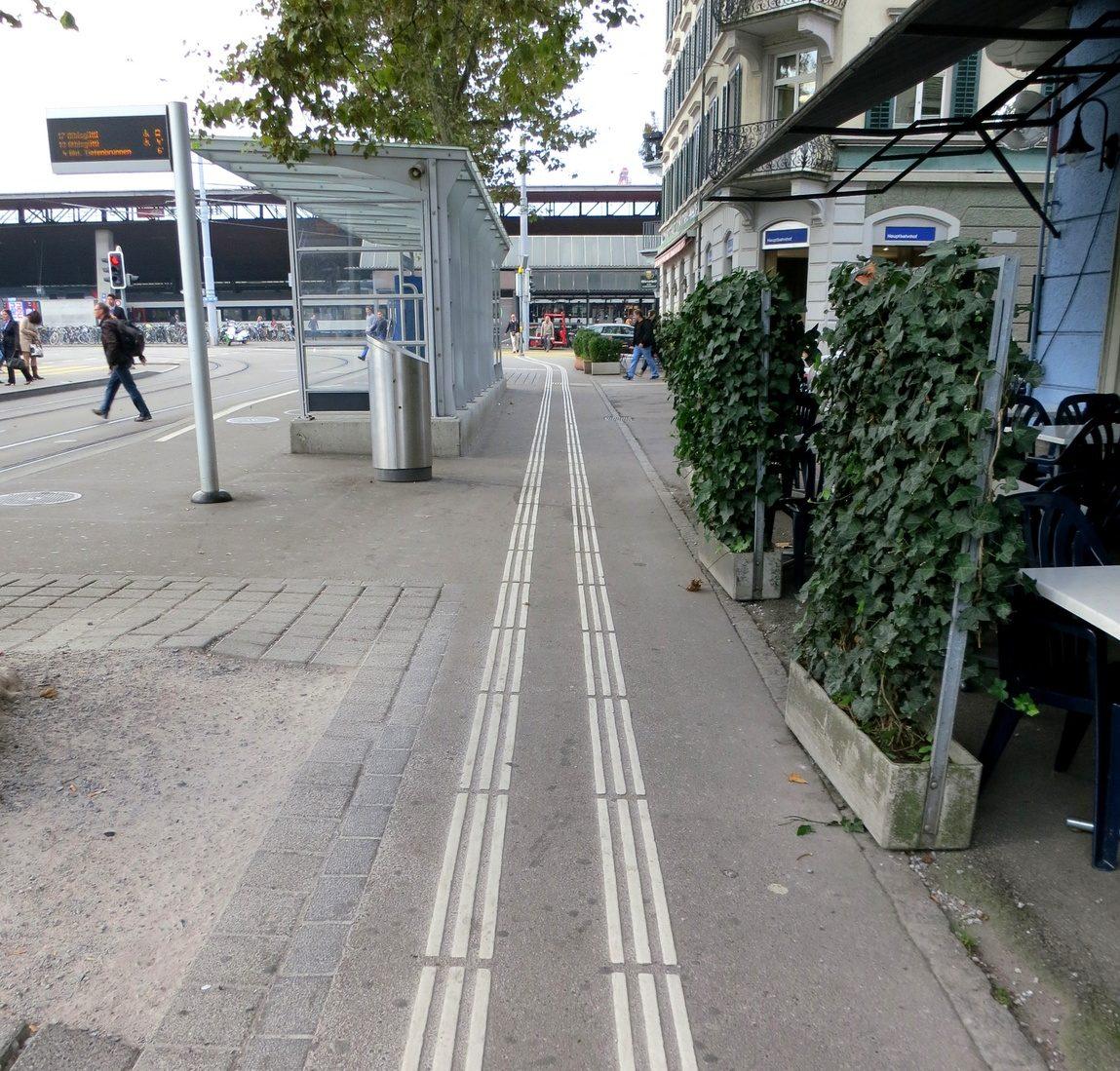 Пешеходная дорожка в Цюрихе для слепых