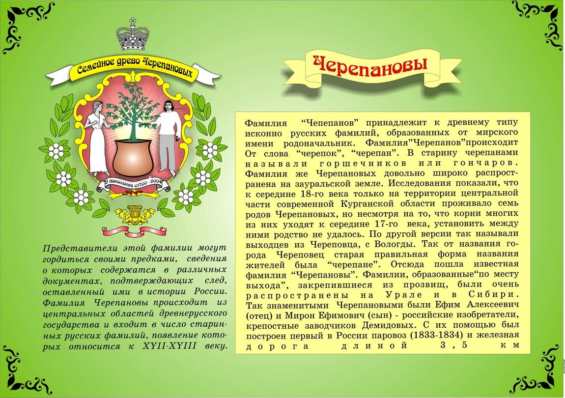 1. Герб фамилии Черепановых