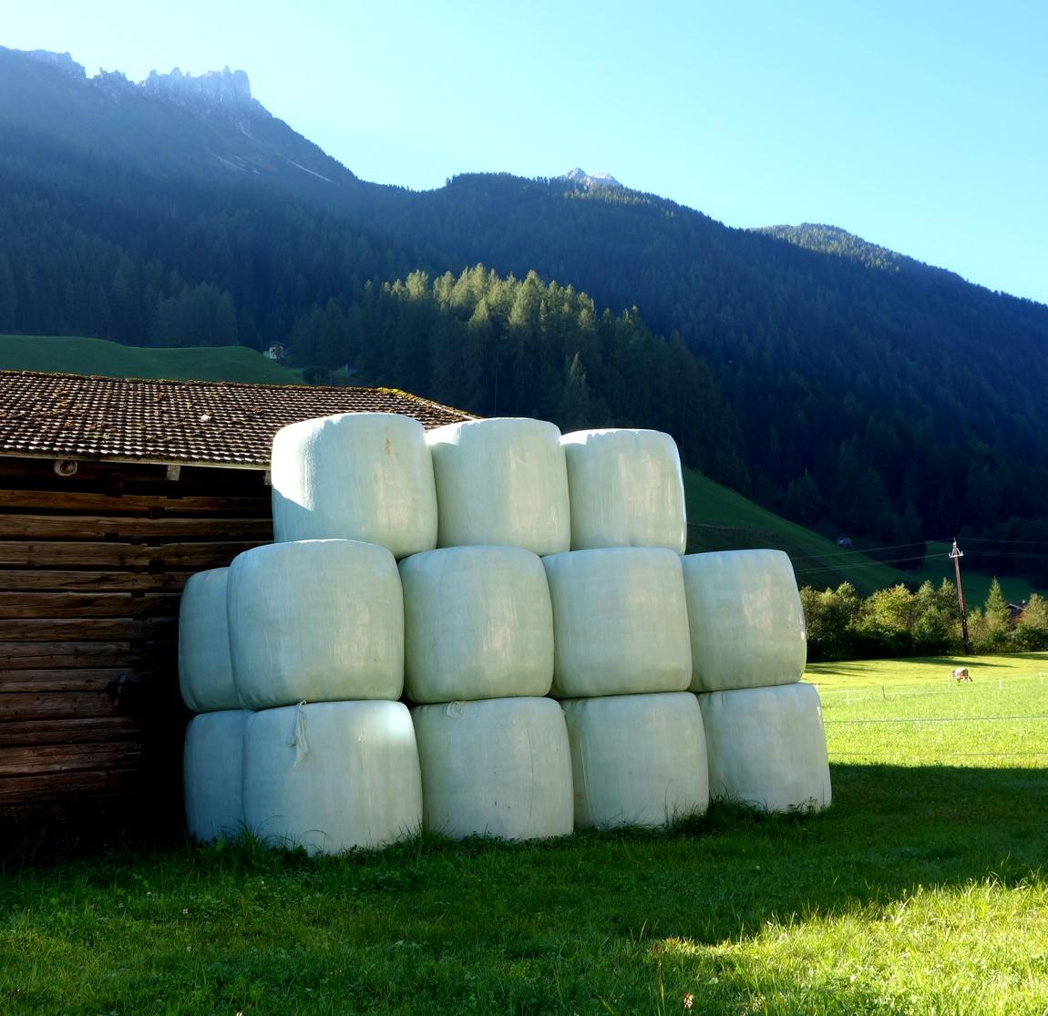Кипы сена в посёлке Нойштифт в Австрии