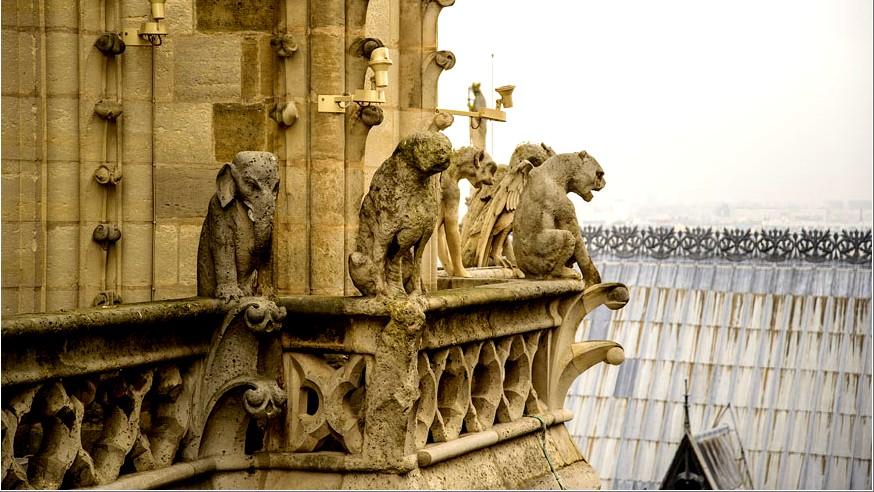 Собор Парижской Богоматери (Нотр-Дам-де-Пари - химеры на крыше