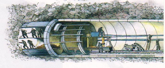 Проходческий щит с ручной выборкой грунта при строительстве метро