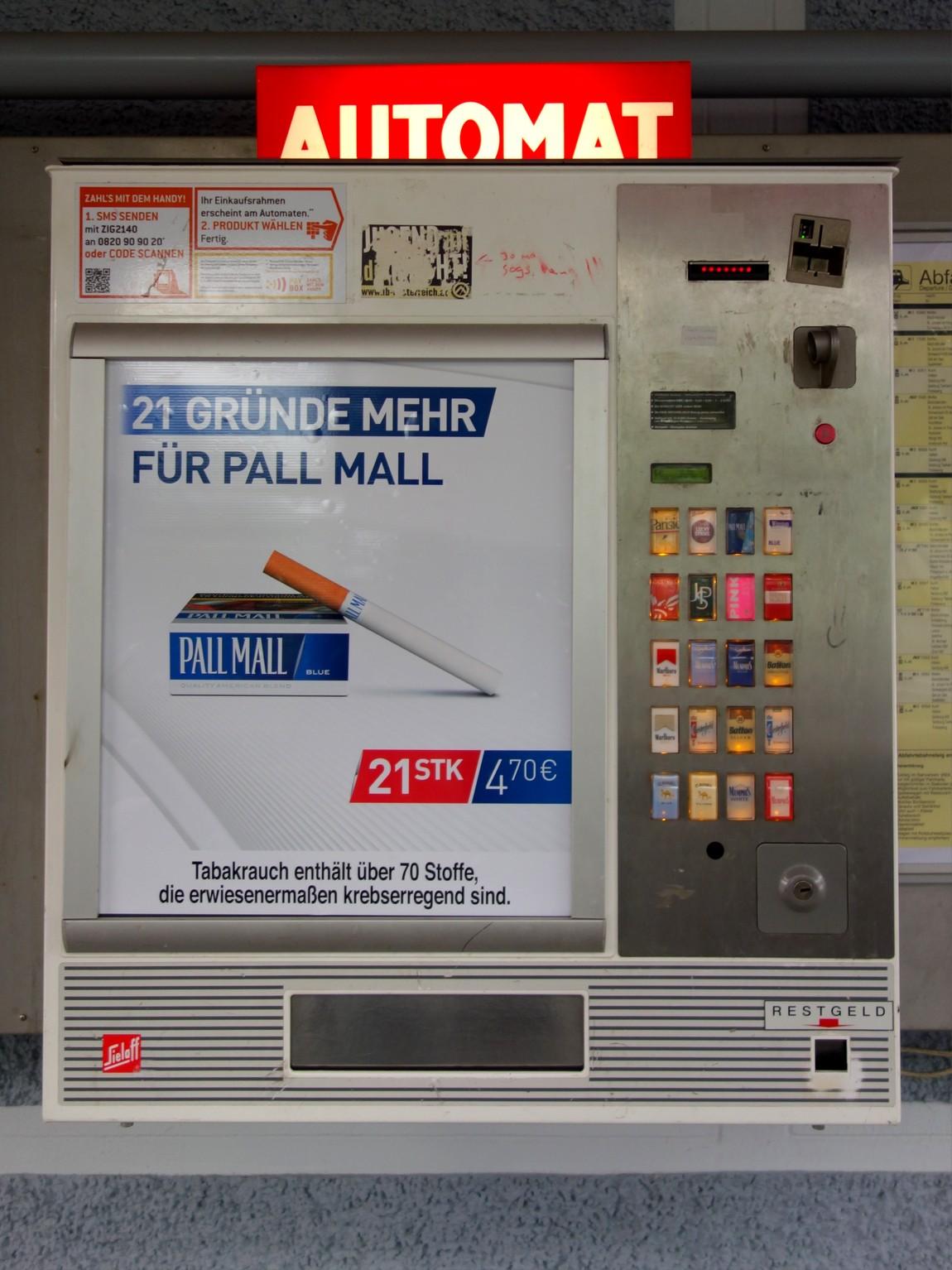 Автомат для продажи сигарет в Австрии
