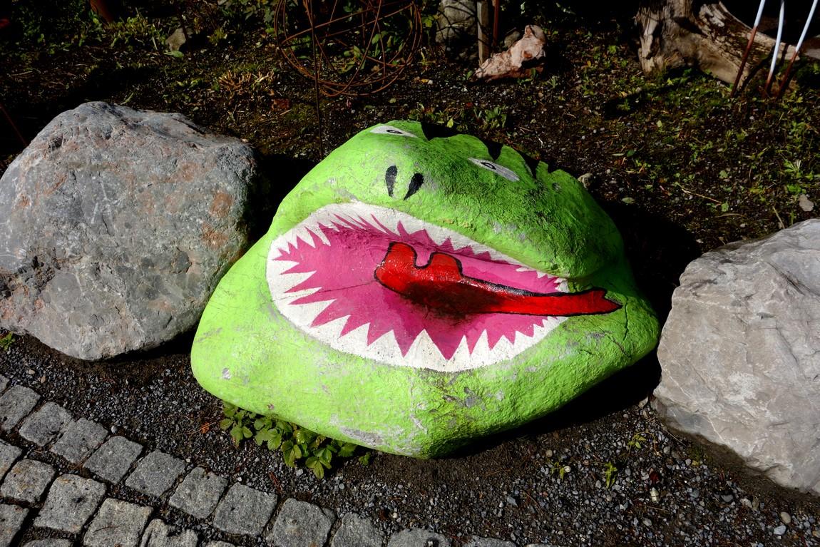 Каменная лягушка (Акула) на клумбе в Австрии