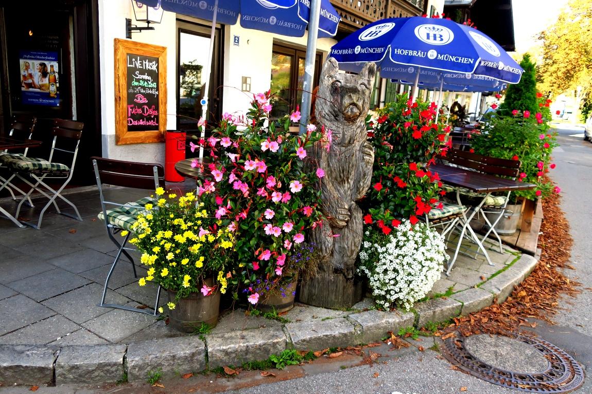 Забавный деревянный кот среди красивейших цветов.