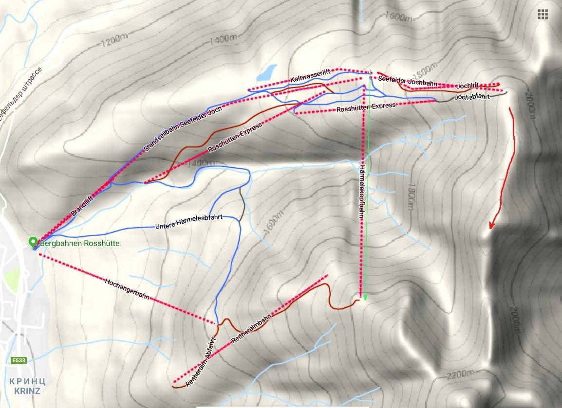 Карта горы и передвижений по канатной дороге