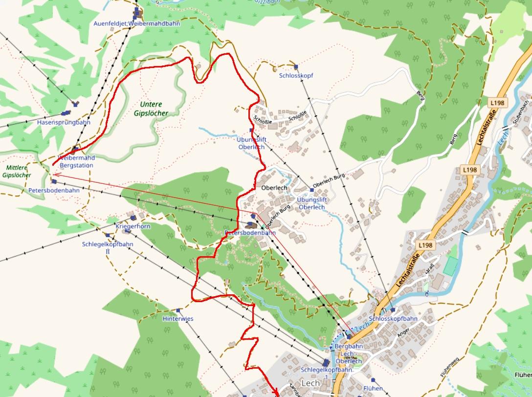 Карта пешеходной тропы с верхней станции Petersboden - Bahn в п. Лех Австрия