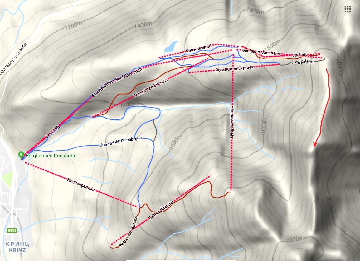 Карта горы Зеефельдер-Шпитце и и пешеходый путь до вершины (Австрия)