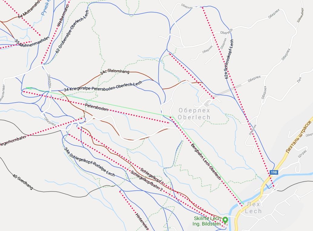 Карта подъёма по канатной дороге из Лех  в Оберлех, и выше