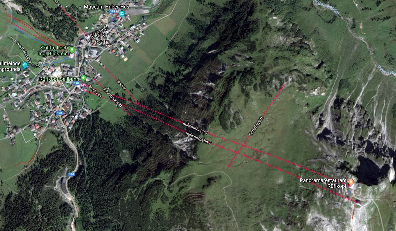 Карта канатной дороги Rüfikopfbahn в Лех (Австрия)