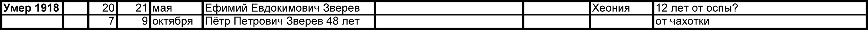 Метрический список Зверевых д. Щёкотово 1918