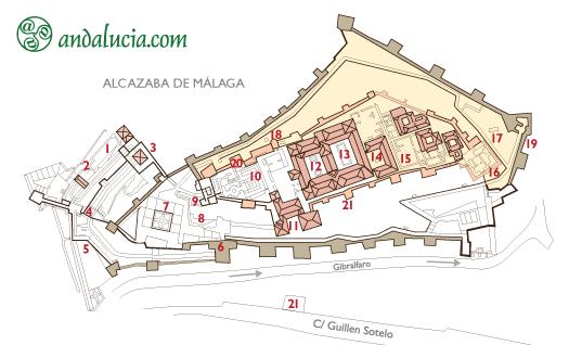 Схема нижней крепости Алькасаба в Малаге