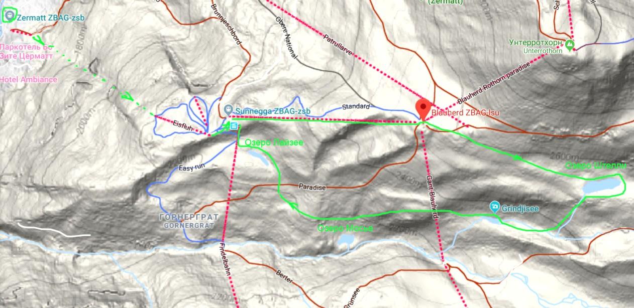Карта маршрута три озера в районе Церматта