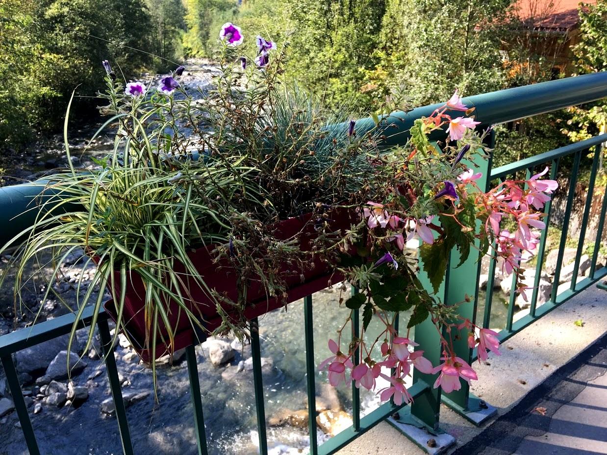 Деревня Servoz - цветы на перилах моста