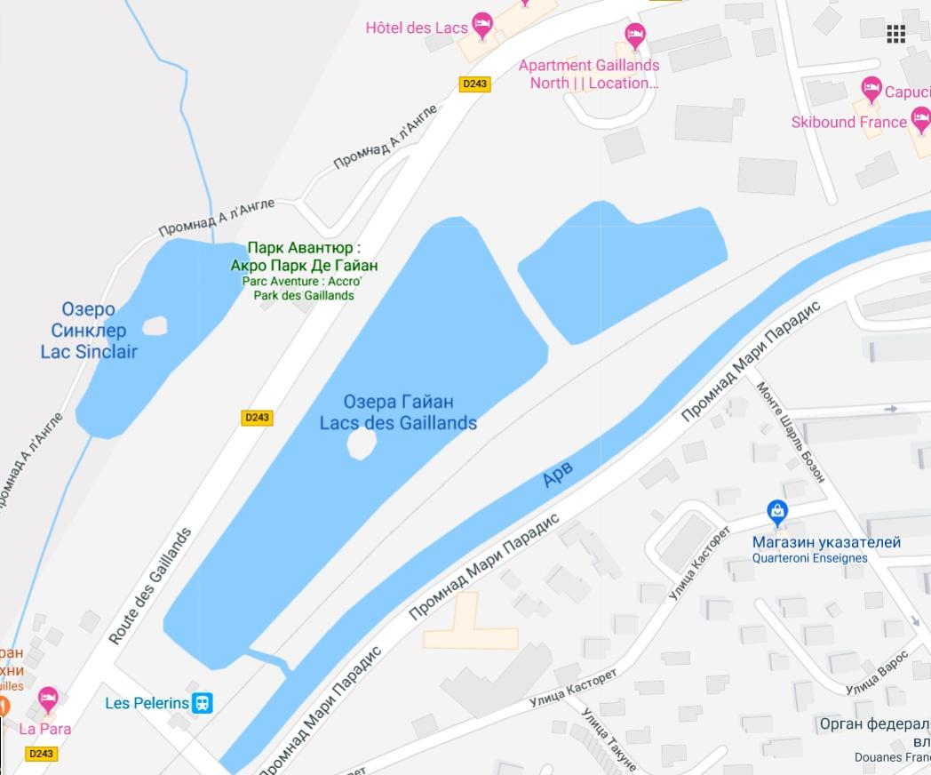 Карта западной части г. Шамони где озёра